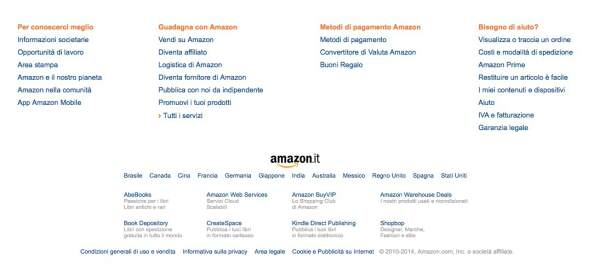 Studiare Amazon SEO: Footer